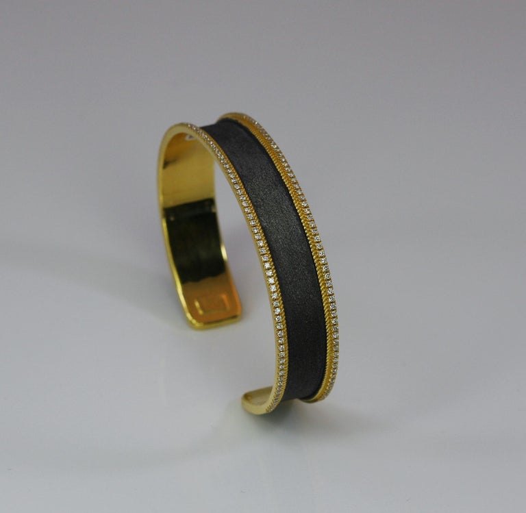Georgios Collections 18 Karat Gold Two Tone Diamond Bangle Bracelet with Rhodium In New Condition For Sale In Astoria, NY
