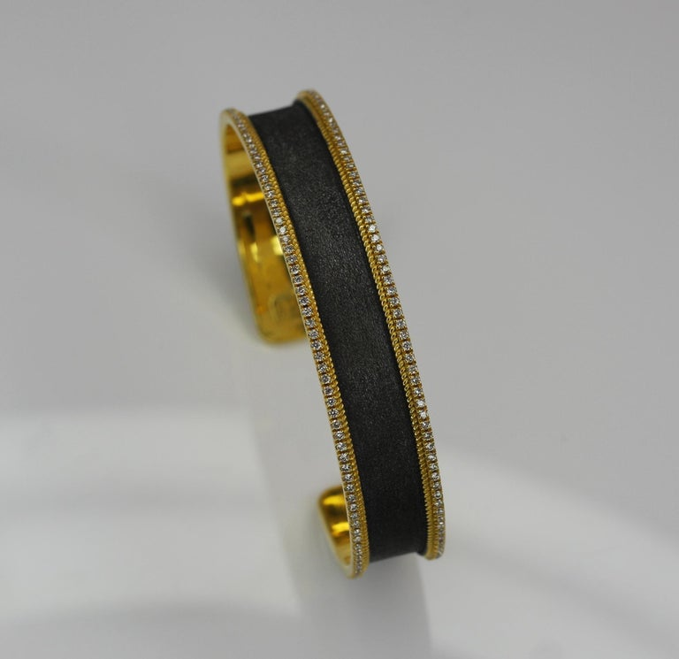 Women's or Men's Georgios Collections 18 Karat Gold Two Tone Diamond Bangle Bracelet with Rhodium For Sale