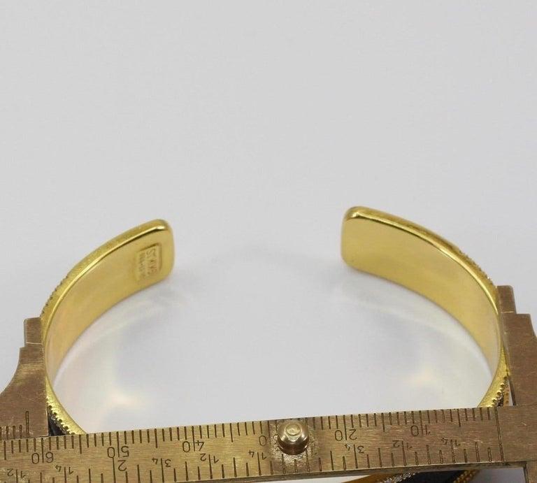 Georgios Collections 18 Karat Gold Two Tone Diamond Bangle Bracelet with Rhodium For Sale 2