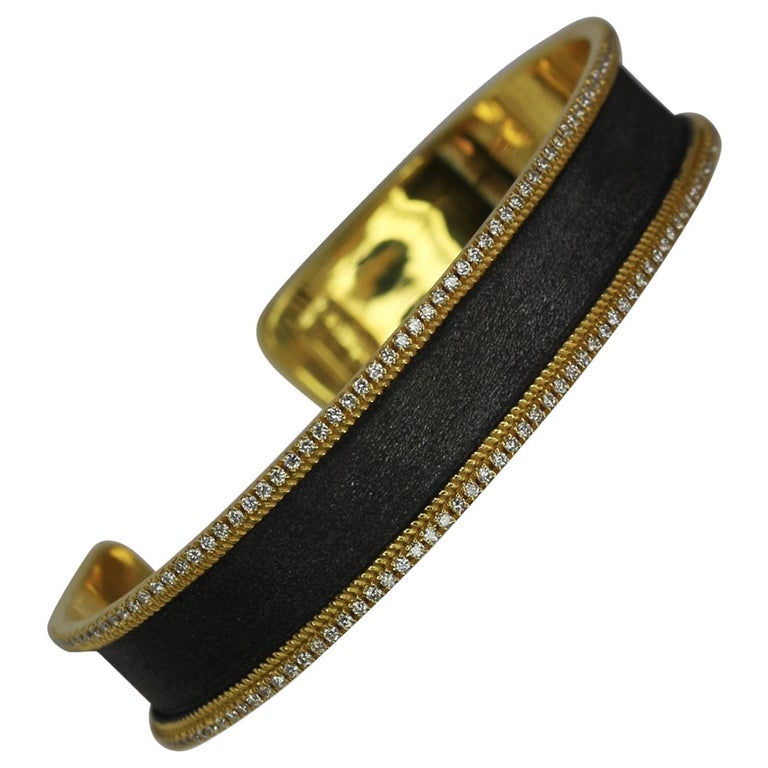 Georgios Collections 18 Karat Gold Two Tone Diamond Bangle Bracelet with Rhodium For Sale
