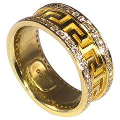 Georgios Collections 18 Karat Yellow Gold Diamond Bezel Eternity Greek Band Ring