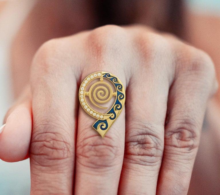 Georgios Collections 18 Karat Yellow Gold Diamond Blue Enamel Greek Key Ring For Sale 5