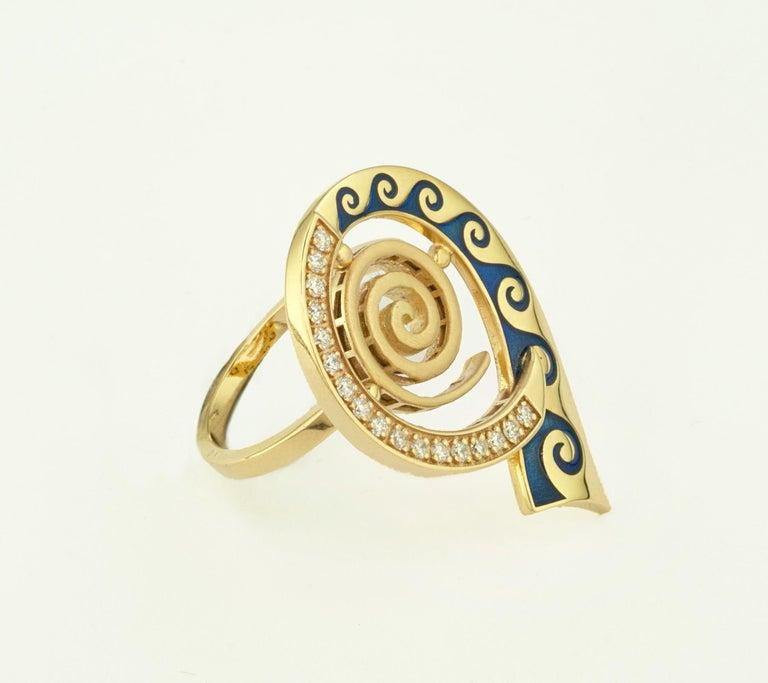 Georgios Collections 18 Karat Yellow Gold Diamond Blue Enamel Greek Key Ring For Sale 7