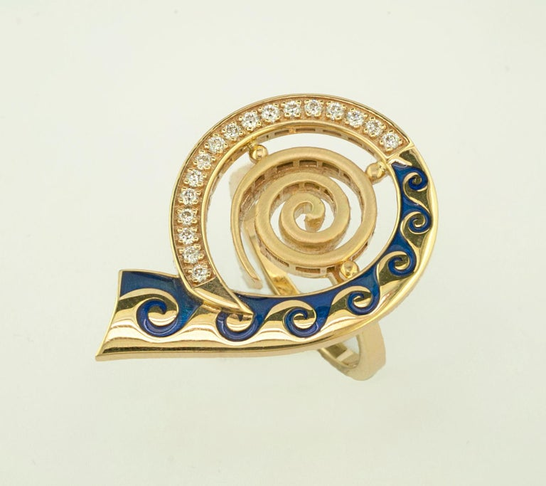 This S.Georgios designer Greek Key ring is handmade from solid 18 Karat Yellow Gold and is carved in a unique Greek Key design to form a beautiful spiral shape. This stunning ring features 17 brilliant-cut White Diamonds total weight of 0.27 Carat