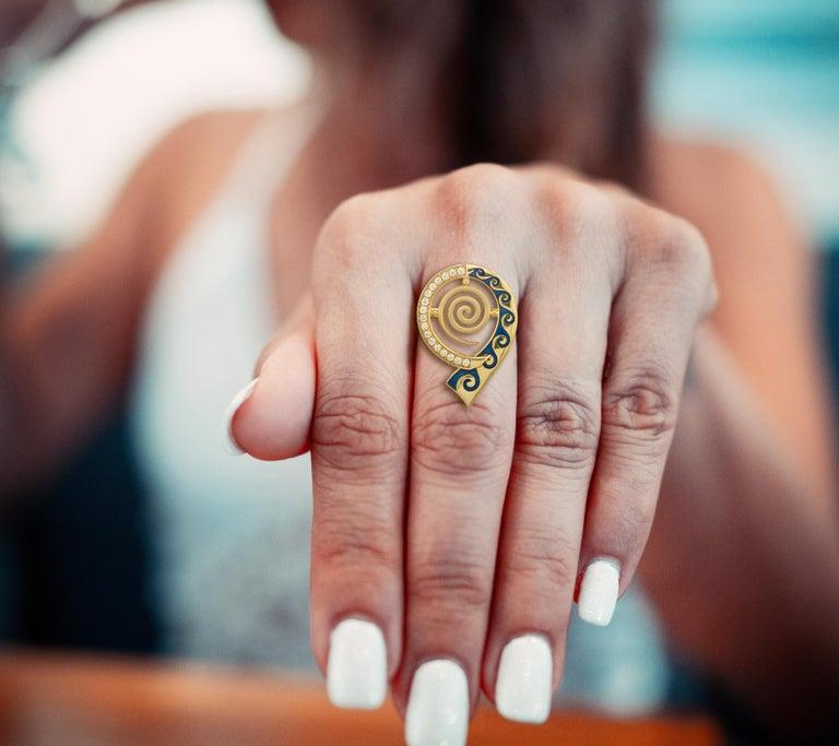 Classical Greek Georgios Collections 18 Karat Yellow Gold Diamond Blue Enamel Greek Key Ring For Sale