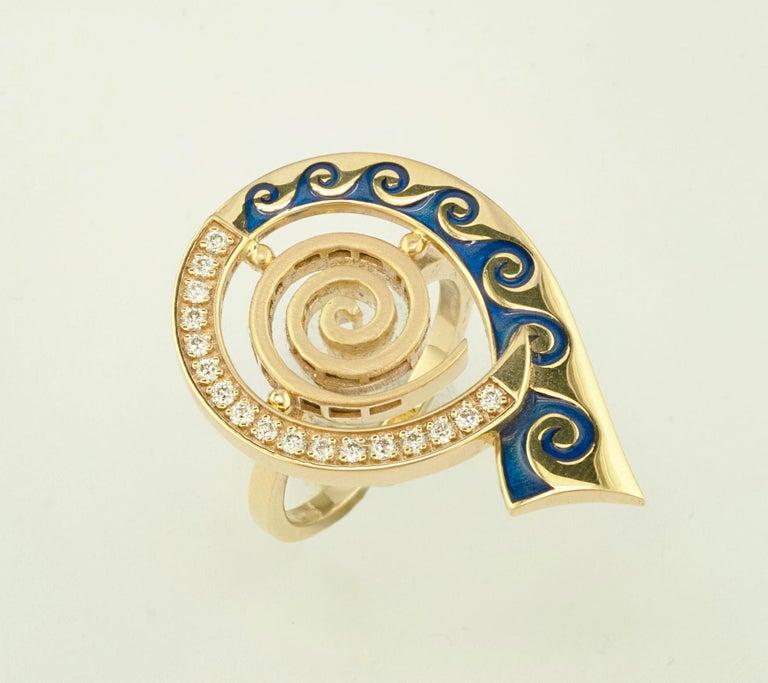 Brilliant Cut Georgios Collections 18 Karat Yellow Gold Diamond Blue Enamel Greek Key Ring For Sale