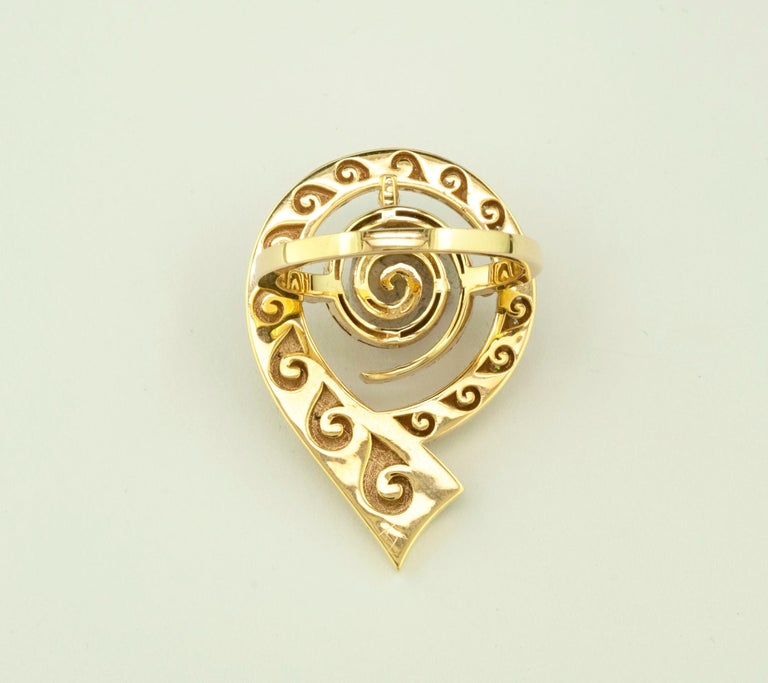 Georgios Collections 18 Karat Yellow Gold Diamond Blue Enamel Greek Key Ring For Sale 2