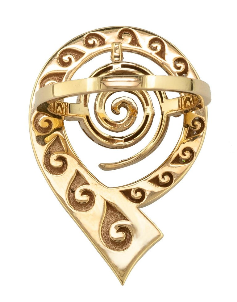 Georgios Collections 18 Karat Yellow Gold Diamond Blue Enamel Greek Key Ring For Sale 3