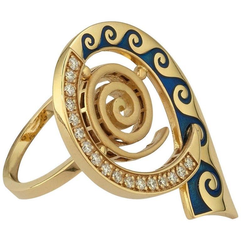 Georgios Collections 18 Karat Yellow Gold Diamond Blue Enamel Greek Key Ring For Sale