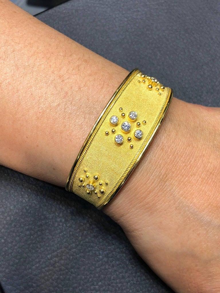 Round Cut Georgios Collections 18 Karat Yellow Gold Diamond Byzantine Style Cuff Bracelet For Sale