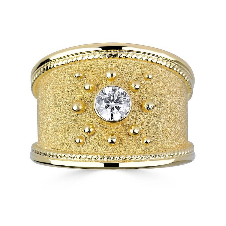 Georgios Collections 18 Karat Yellow Gold Diamond Byzantine Style Cuff Bracelet In New Condition For Sale In Astoria, NY