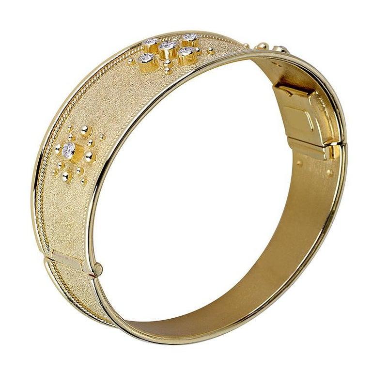 Georgios Collections 18 Karat Yellow Gold Diamond Byzantine Style Cuff Bracelet For Sale