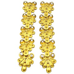 Georgios Collections 18 Karat Yellow Gold Diamond Byzantine Earrings