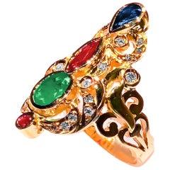 Georgios Sammlungen, 18 Karat Gelbgold, Diamant, byzantinischer Multicolor Edelsteinring