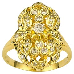 Georgios Collections 18 Karat Yellow Gold Diamond Byzantine Pasha Long Ring