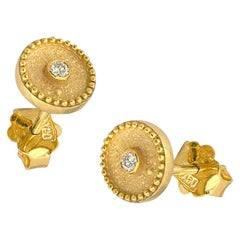 Georgios Collections 18 Karat Yellow Gold Diamond Byzantine Stud Earrings