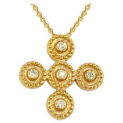 Georgios Collections 18 Karat Yellow Gold Diamond Byzantine Style Cross Necklace