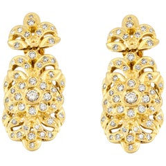 Georgios Collections 18 Karat Yellow Gold Diamond Byzantine Style Drop Earrings