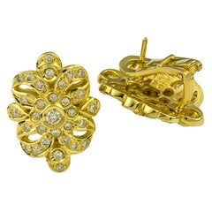 Georgios Collections 18 Karat Yellow Gold Diamond Byzantine Style Clip Earrings