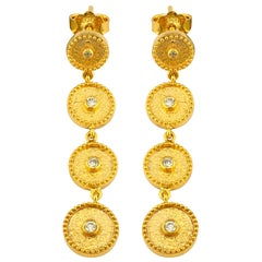 Georgios Collections 18 Karat Yellow Gold Diamond Circle Dangle Drop Earrings
