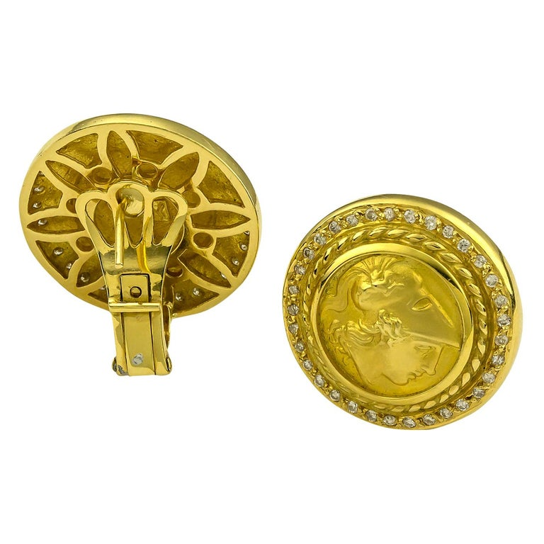 Classical Greek Georgios Collections 18 Karat Yellow Gold Diamond Coin Stud Earrings of Athina For Sale