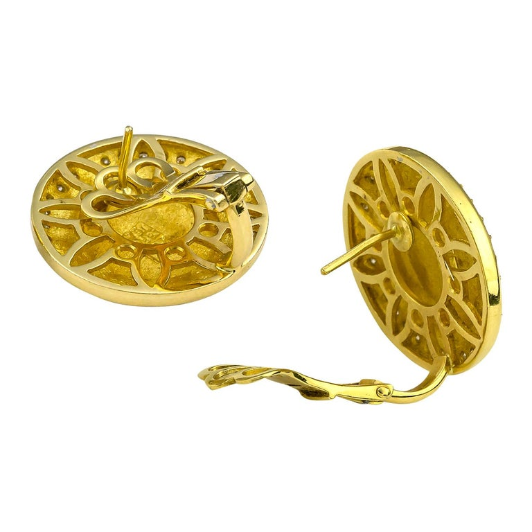 Georgios Collections 18 Karat Yellow Gold Diamond Coin Stud Earrings of Athina In New Condition For Sale In Astoria, NY