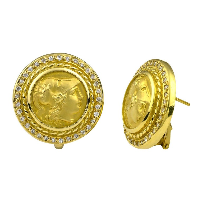Georgios Collections 18 Karat Yellow Gold Diamond Coin Stud Earrings of Athina For Sale 1