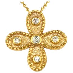 Georgios Collections 18 Karat Yellow Gold Diamond Cross Chain Pendant Necklace