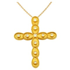 Georgios Collections 18 Karat Yellow Gold Diamond Cross Necklace with Chain