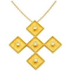 Georgios Collections 18 Karat Yellow Gold Diamond Cross Pendant with Chain