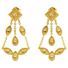 Georgios Collections 18 Karat Yellow Gold Diamond Dangle Chandelier Earrings
