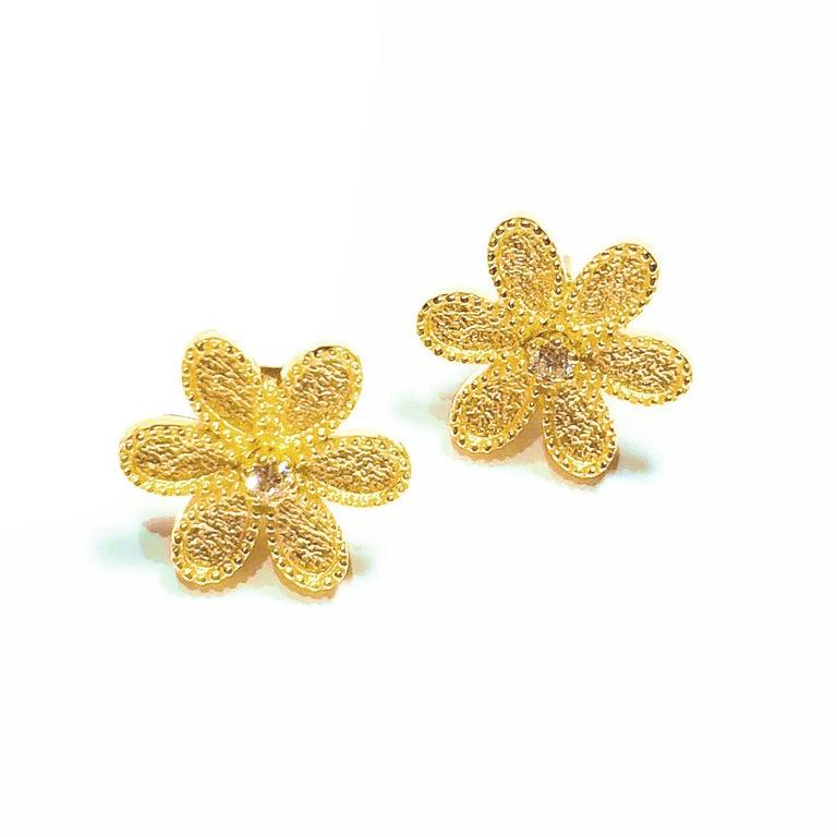 Byzantine Georgios Collections 18 Karat Yellow Gold Diamond Detachable Stud Earrings  For Sale