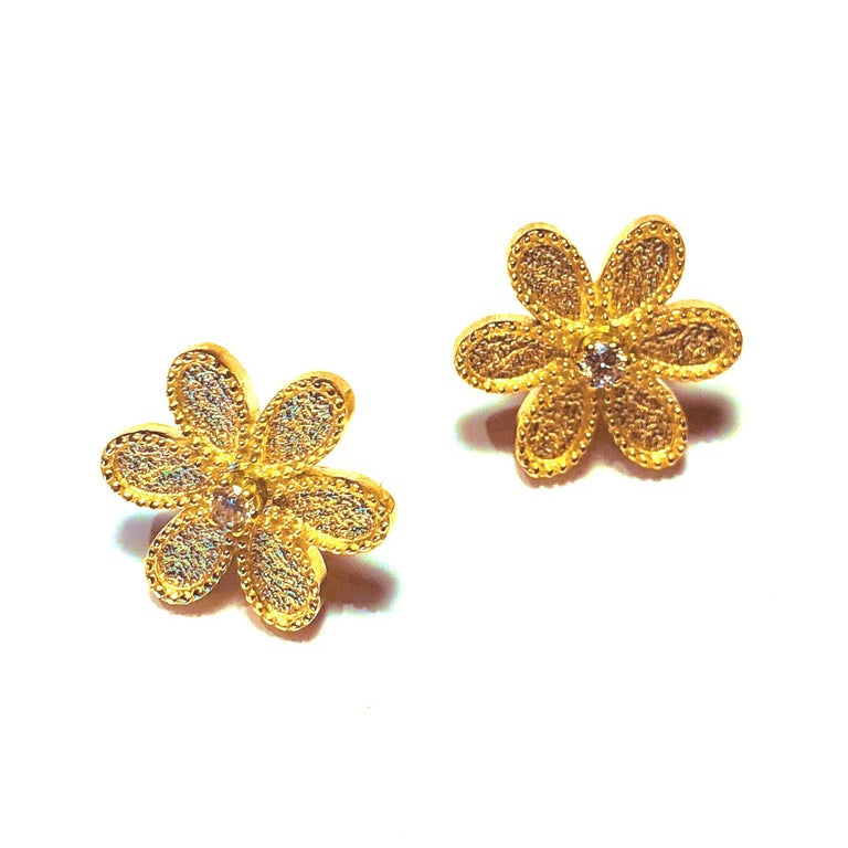 Round Cut Georgios Collections 18 Karat Yellow Gold Diamond Detachable Stud Earrings  For Sale