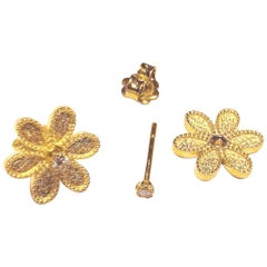 Georgios Collections 18 Karat Yellow Gold Diamond Detachable Stud Earrings
