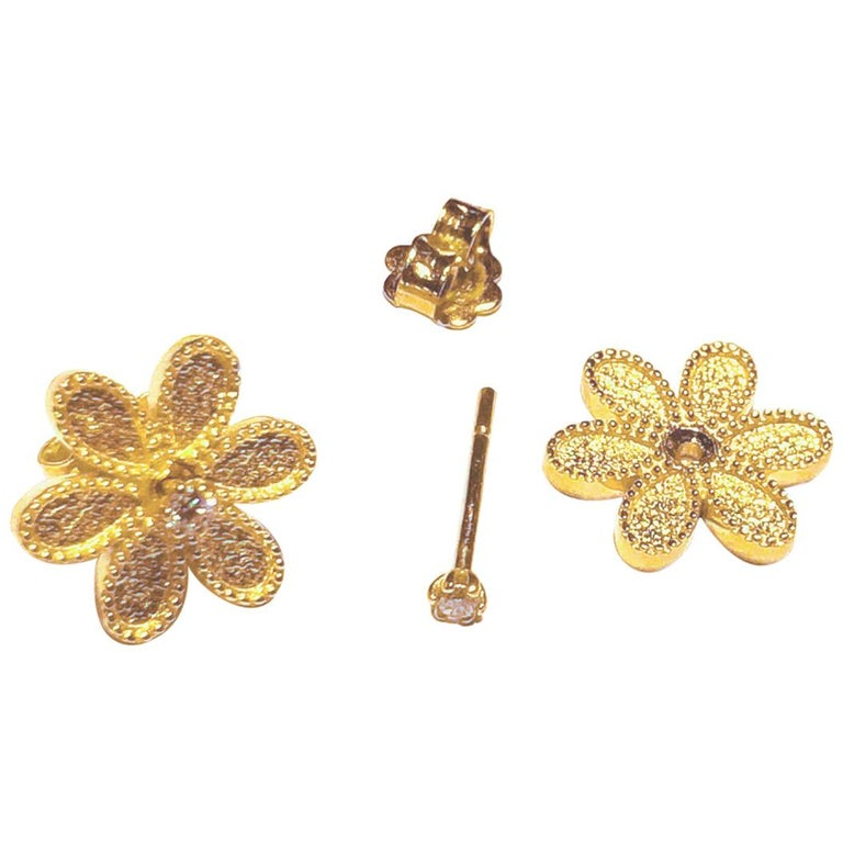 Georgios Collections 18 Karat Yellow Gold Diamond Detachable Stud Earrings  For Sale