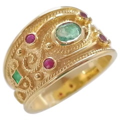 Georgios Collections 18 Karat Yellow Gold Diamond Emerald and Ruby Band Ring