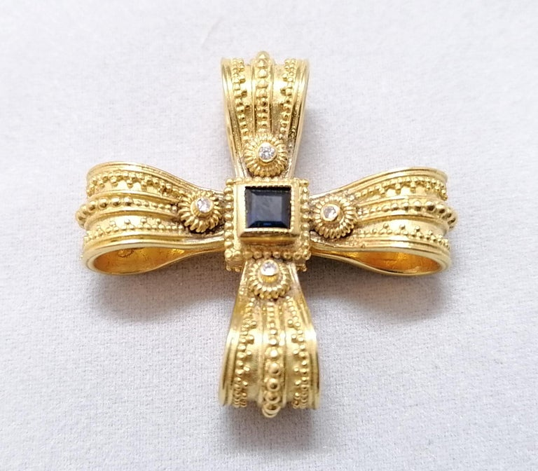 Georgios Collections 18 Karat Yellow Gold Diamond Emerald and Sapphire Cross For Sale 4