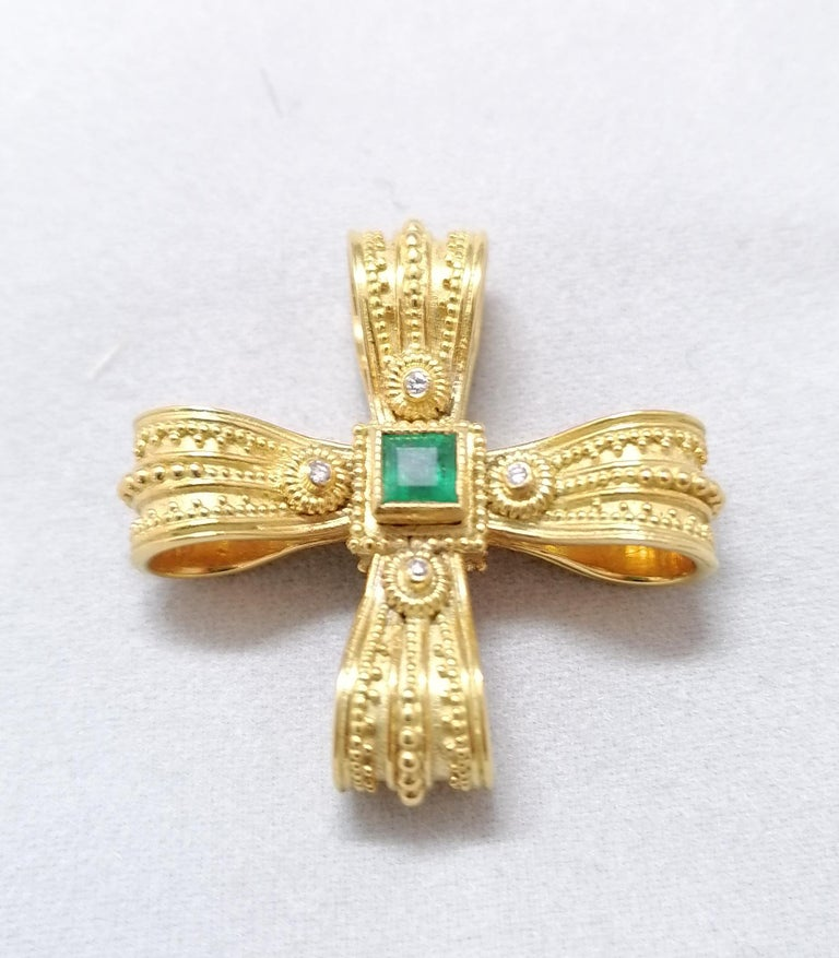 Georgios Collections 18 Karat Yellow Gold Diamond Emerald and Sapphire Cross For Sale 8