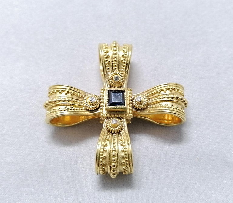 Georgios Collections 18 Karat Yellow Gold Diamond Emerald and Sapphire Cross For Sale 1