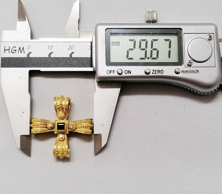 Georgios Collections 18 Karat Yellow Gold Diamond Emerald and Sapphire Cross For Sale 3