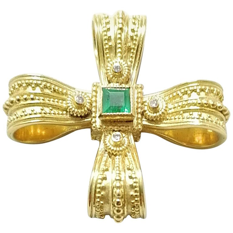 Georgios Collections 18 Karat Yellow Gold Diamond Emerald and Sapphire Cross For Sale
