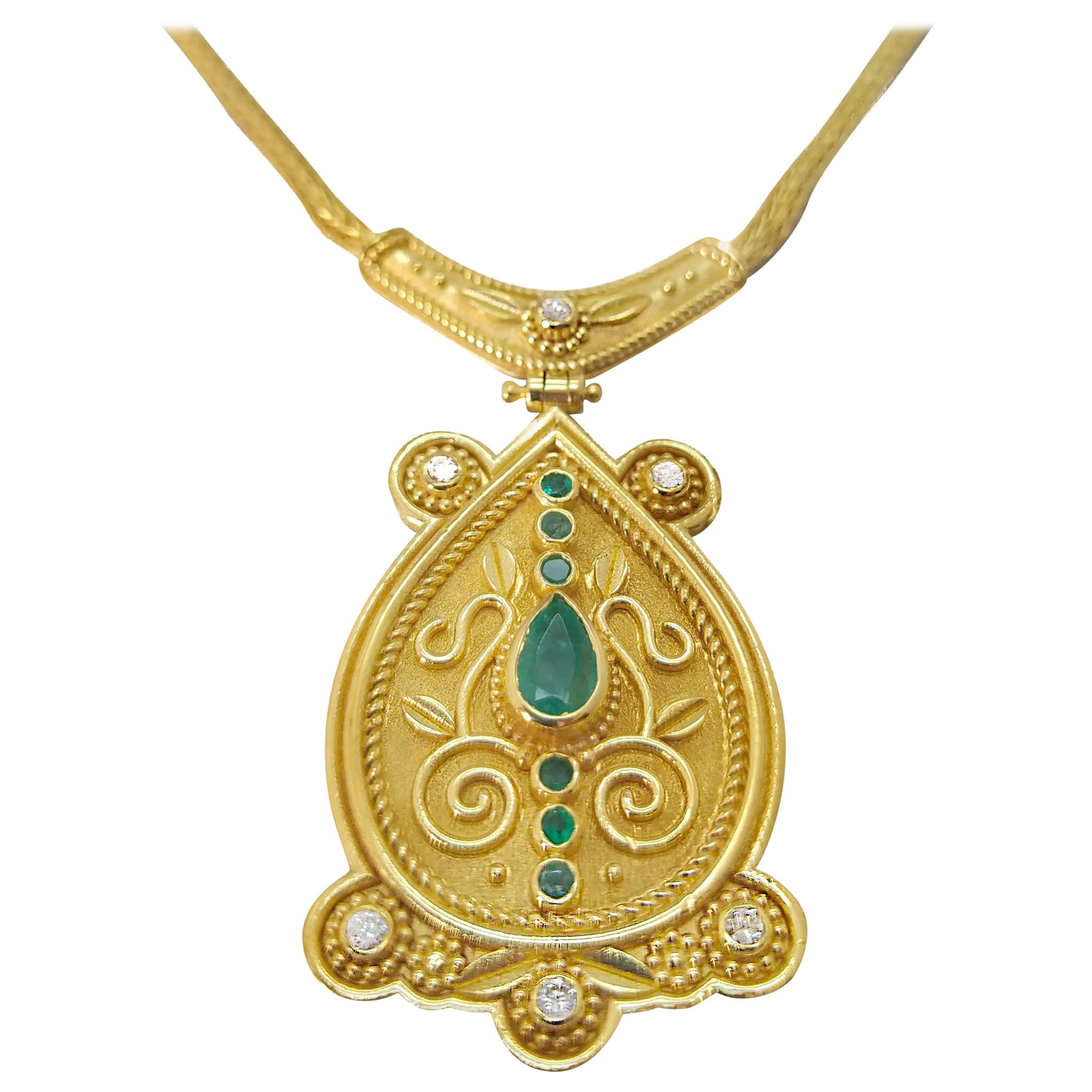 Georgios Collections 18 Karat Yellow Gold Diamond Emerald Drop Pendant Necklace