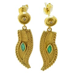 Georgios Collections 18 Karat Yellow Gold Diamond Emerald Feather Drop Earrings