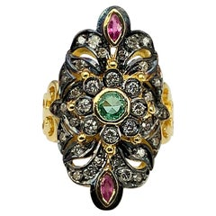 Georgios Collections 18 Karat Yellow Gold Wide Diamond Emerald Ruby Pasha Ring
