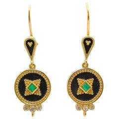 Georgios Collections 18 Karat Yellow Gold Diamond Emerald Two-Tone Drop Earrings