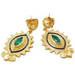 Georgios Collections 18 Karat Yellow Gold Diamond Emerald Two-Tone Earrings