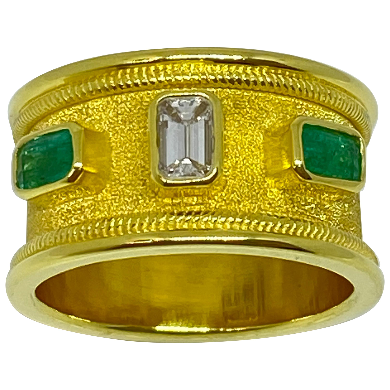 Georgios Collections 18 Karat Yellow Gold Diamond Emerald Unisex Band Ring