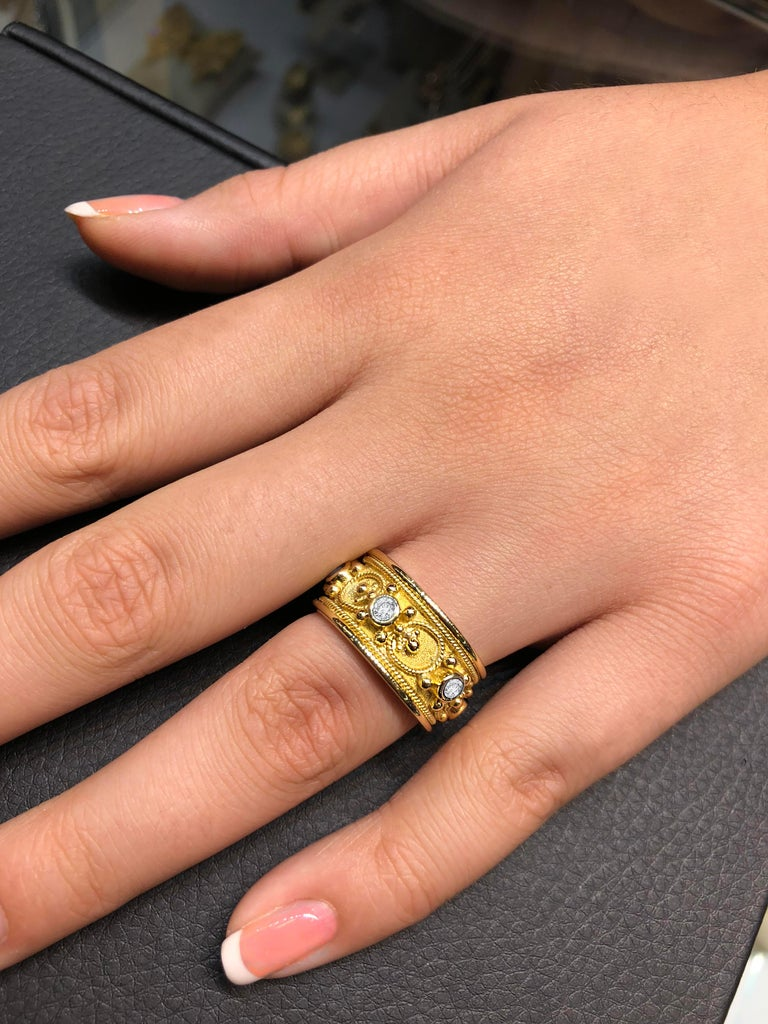 Byzantine Georgios Collections 18 Karat Yellow Gold Diamond Eternity Granulated Band Ring For Sale