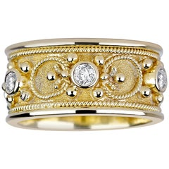 Georgios Collections 18 Karat Yellow Gold Diamond Eternity Granulated Band Ring
