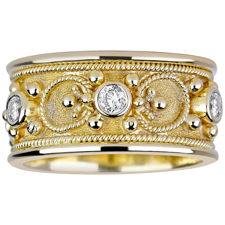 Georgios Collections 18 Karat Yellow Gold Diamond Eternity Granulated Band Ring For Sale